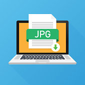 Download JPG button on laptop screen. Downloading document concept. File with JPG label and down arrow sign. Vector illustration.