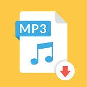 Download MP3 icon. File with MP3 label and down arrow sign. Audio file format. Downloading audio concept. Flat design vector icon