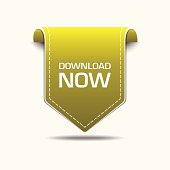 Download Now Yellow Label Icon Vector Design