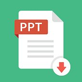 Download PPT icon. File with PPT label and down arrow sign. Presentation file. Downloading document concept. Flat design vector icon