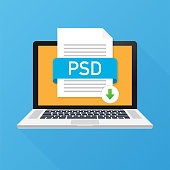 Download PSD button on laptop screen. Downloading document concept. File with PSD label and down arrow sign. Vector illustration.