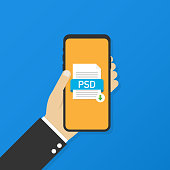 Download PSD button on smartphone screen. Downloading document concept. File with PSD label and down arrow sign