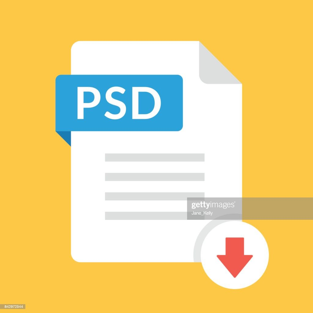 Download PSD icon. File with PSD label and down arrow sign. Downloading file concept. Flat design vector icon