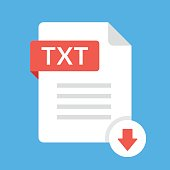 Download TXT icon. File with TXT label and down arrow sign. Text document. Downloading document concept. Flat design vector icon