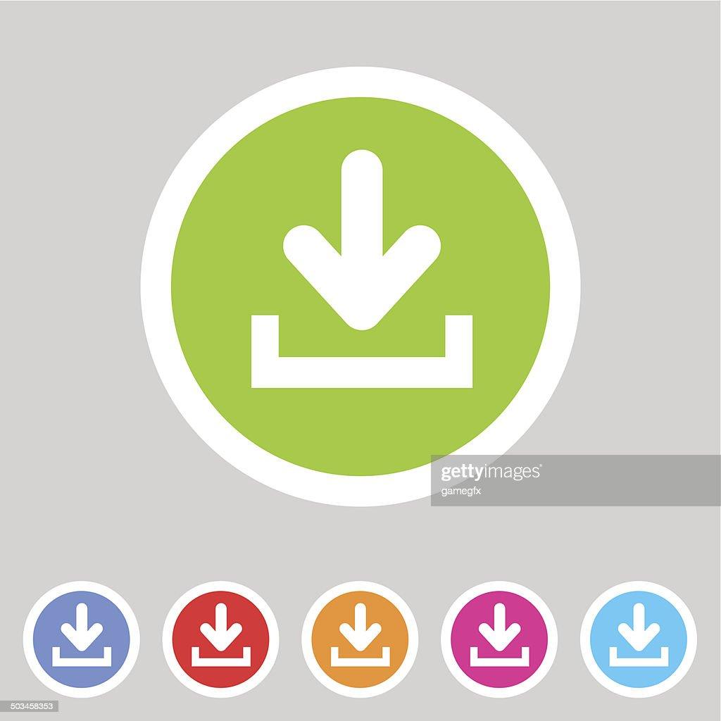 Download upload flat icon, button set, load symbol