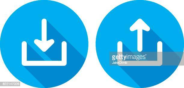 download upload icons silhouette - transfer image stock illustrations