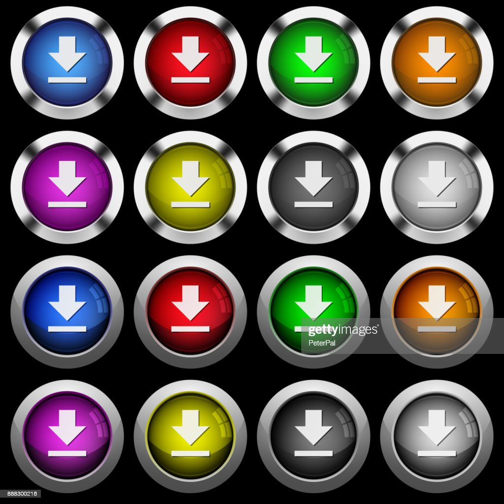 Download white icons in round glossy buttons on black background