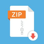Download ZIP icon. File with ZIP label and down arrow sign. Archive file format. Downloading document concept. Flat design vector icon