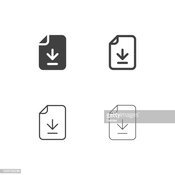 downloading file icons - multi series - stream stock illustrations