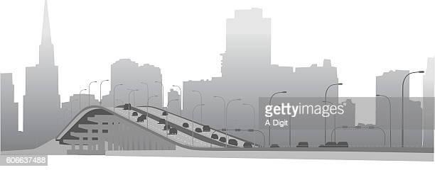 downtown bridge over the lake vector illustration - aqueduct stock illustrations, clip art, cartoons, & icons