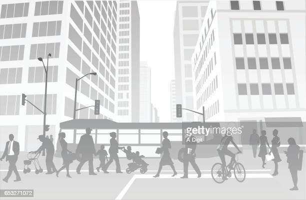 downtown bustle background illustration - commuter stock illustrations, clip art, cartoons, & icons