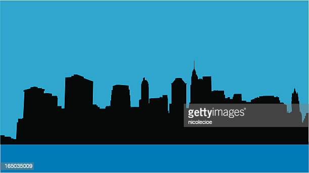 downtown nyc skyline - battery park stock illustrations, clip art, cartoons, & icons