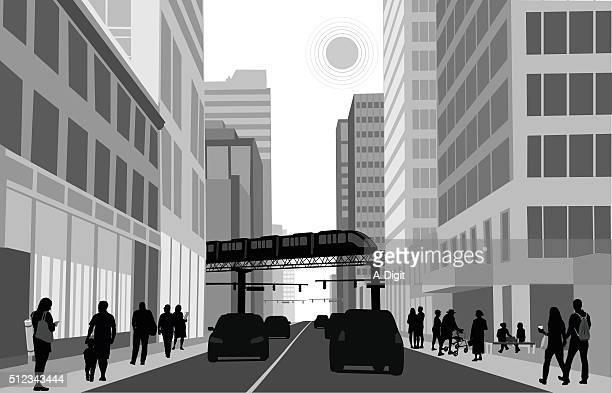 ilustraciones, imágenes clip art, dibujos animados e iconos de stock de tren del centro de la ciudad - calle urbana