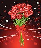 Dozen of roses on red Valentine's Day background