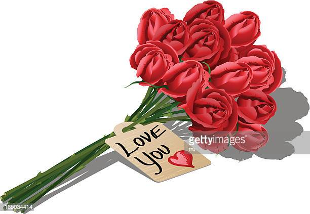 Dozen red roses and messages