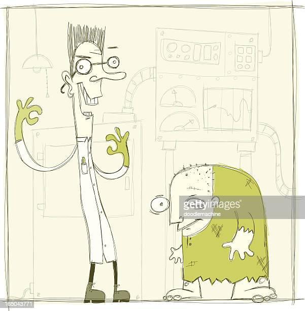 ilustrações de stock, clip art, desenhos animados e ícones de dr. madfastovitch & igor - frankenstein
