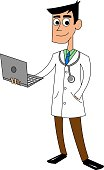 Dr Physician with laptop cartoon vector
