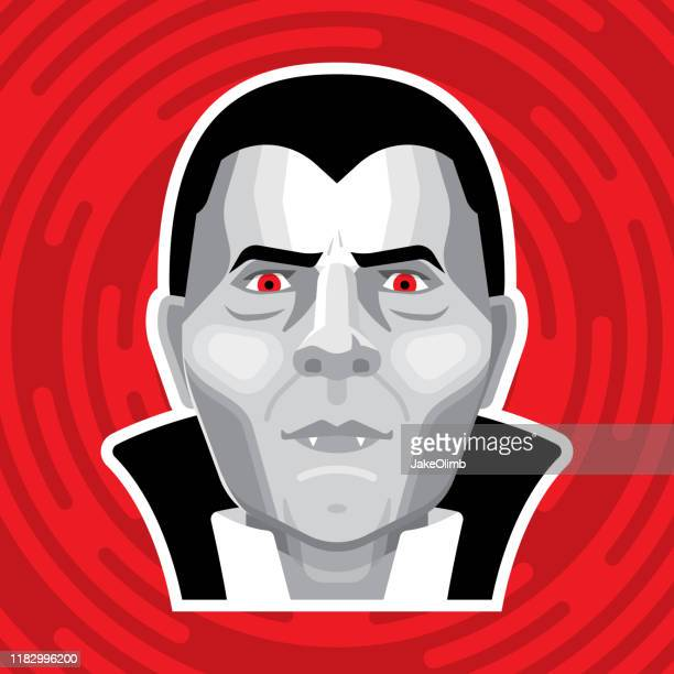 ilustraciones, imágenes clip art, dibujos animados e iconos de stock de drácula face flat - vampiro