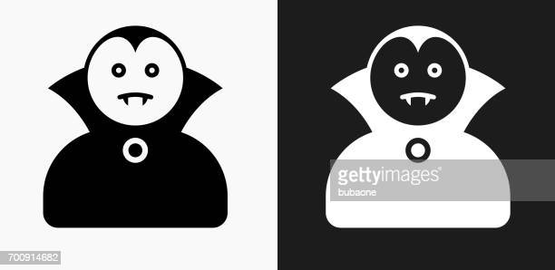 dracula halloween costume icon on black and white vector backgrounds - vampire stock illustrations, clip art, cartoons, & icons