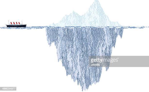 draft iceberg and cruise ship - iceberg ice formation stock illustrations