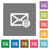 Draft mail square flat icons