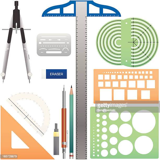 drafting tools - protractor stock illustrations, clip art, cartoons, & icons