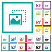 Drag image to bottom left flat color icons with quadrant frames