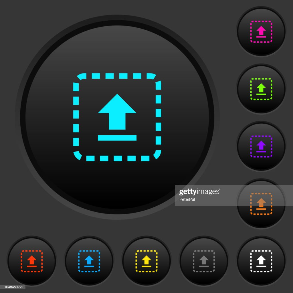 Drag to upload dark push buttons with color icons