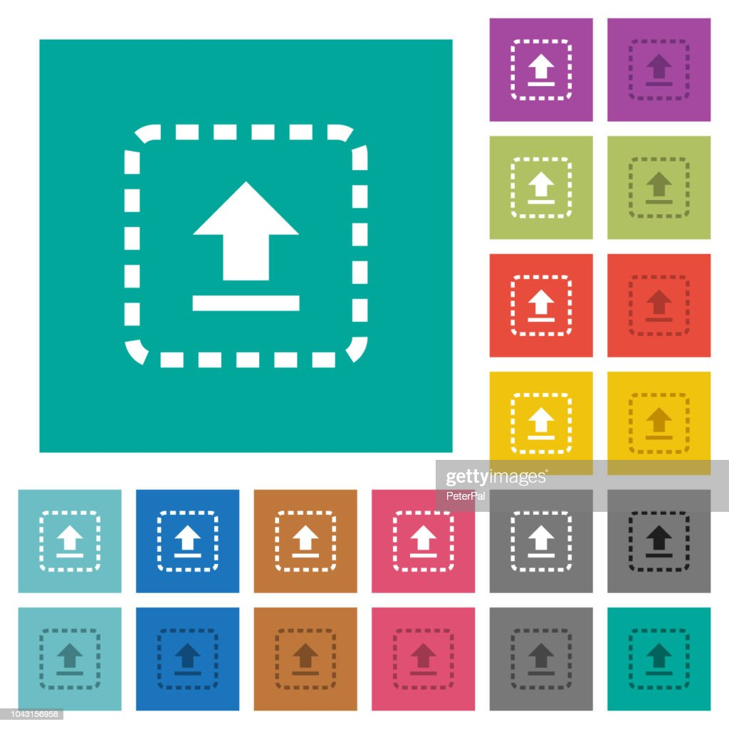 Drag to upload square flat multi colored icons