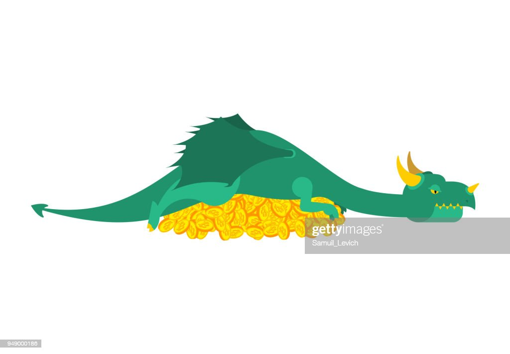 Dragon and bitcoin. Mythical Monster protects crypto currency. Terrible huge beast lying on pile of coins