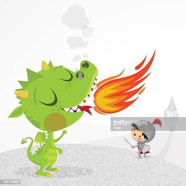 dragon and knight - cavalier cavalry stock illustrations, clip art, cartoons, & icons