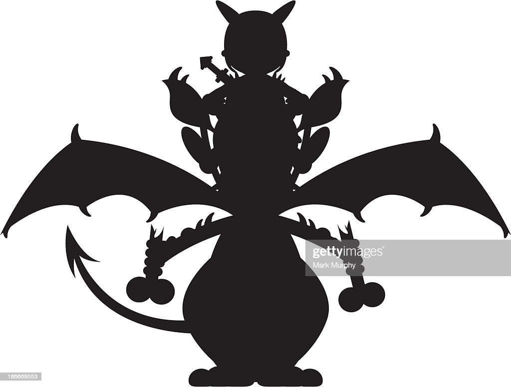 Dragon and Viking Warrior in Silhouette