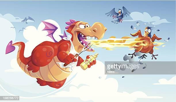 ilustraciones, imágenes clip art, dibujos animados e iconos de stock de dragon barbacoa - pollo asado