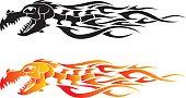 Dragon Bone Flame Tattoo