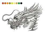 Dragon coloring page template