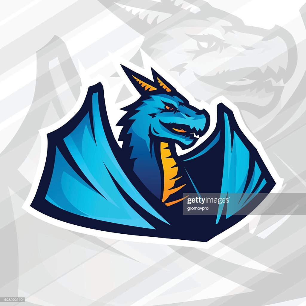 Dragon concept. Football or baseball mascot design. College league insignia