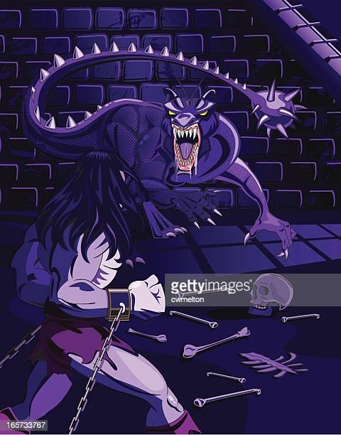 ilustraciones, imágenes clip art, dibujos animados e iconos de stock de mazmorra del dragón - bola de hierro y cadena