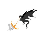 Dragon fire monsters with Knights Templar design vector