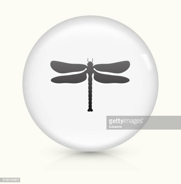 Libelle Symbol auf weißer Runder Vektor Knopf