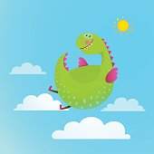 Dragon flying in sky colorful cartoon for kids.