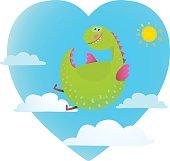 Dragon flying in sky fun cute cartoon