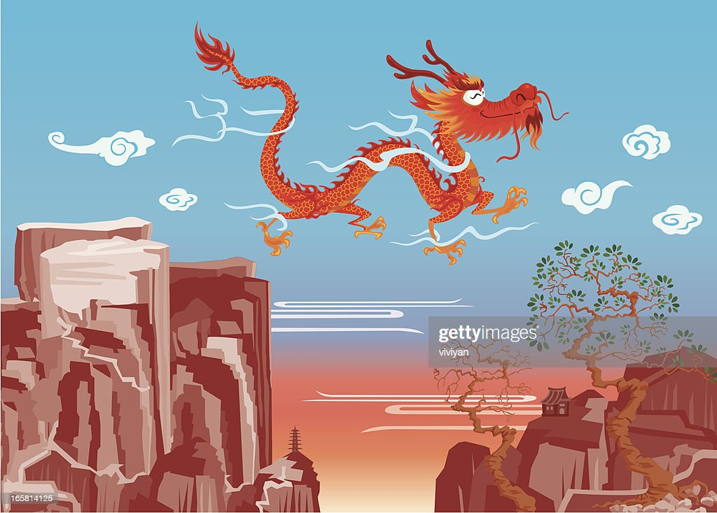 dragon flying over the mountain