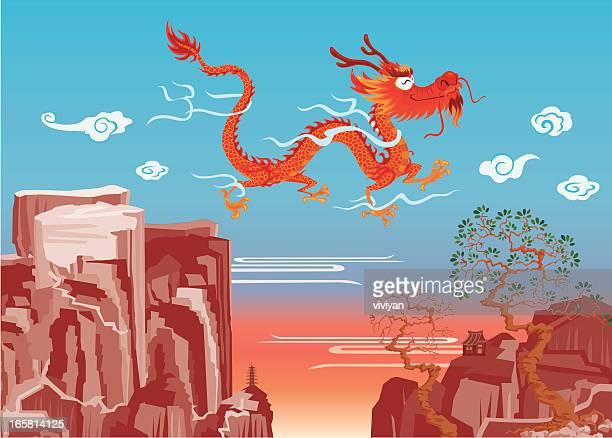dragon volando sobre la montaña