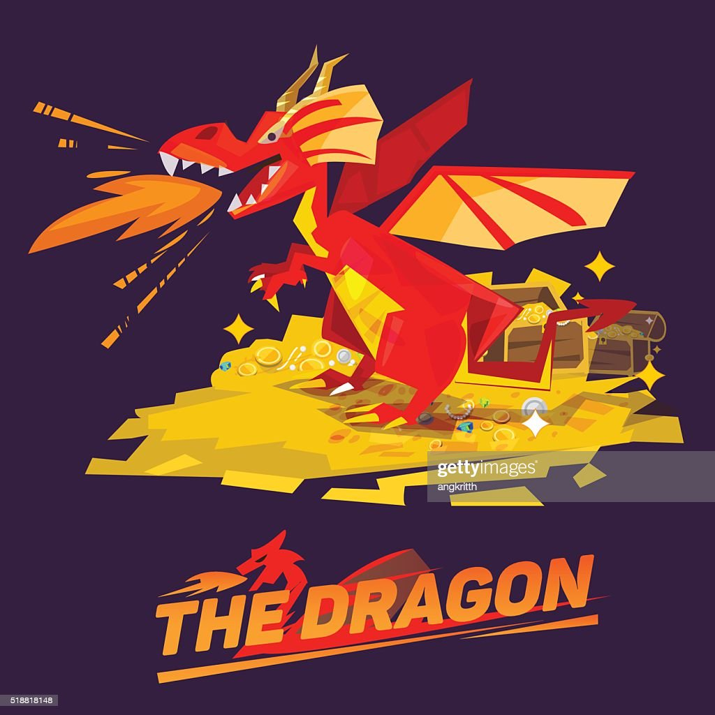 Dragon Guarding Treasure. character design. typographic design - vector