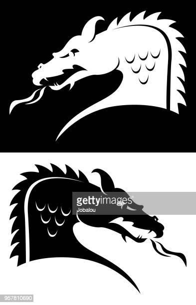dragon head b&w - embellishment stock illustrations