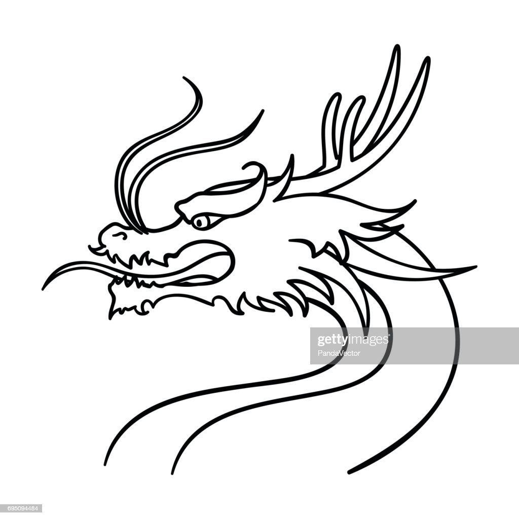 Dragon icon in outline style isolated on white background. South Korea symbol stock vector illustration.