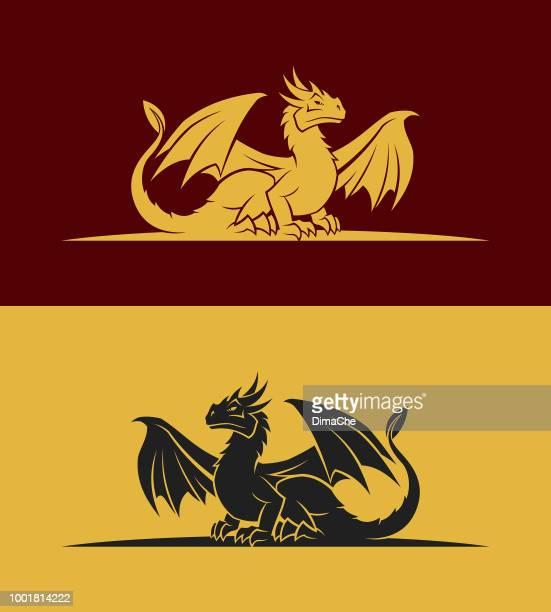 dragon icon - tail stock illustrations