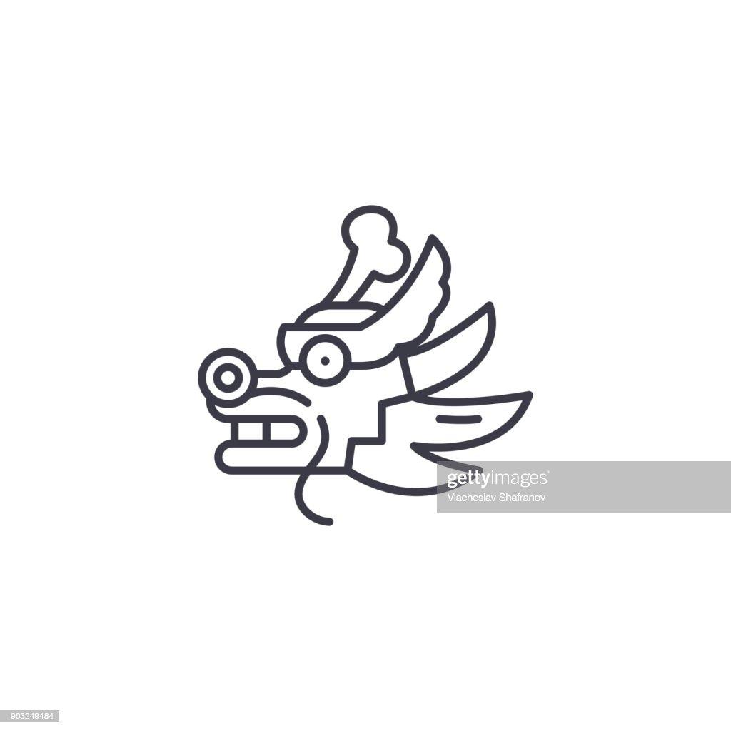 Dragon linear icon concept. Dragon line vector sign, symbol, illustration.