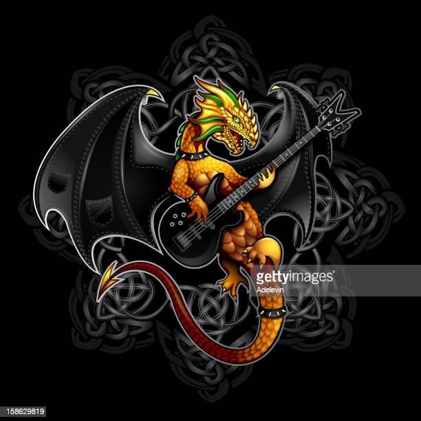 dragon rock symbol - bass instrument stock illustrations, clip art, cartoons, & icons