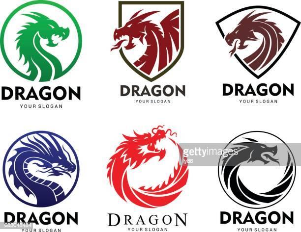 dragon set - dragon stock illustrations